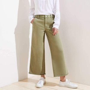 LOFT Wide Leg Crop Olive Green Pant